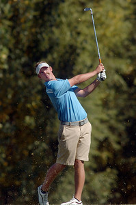 Broomfield's Nick Reisch tees off of the 4th hole during the state 4A golf tournament at Pelican Lakes Golf course in Windsor on Tuesday. October 4, 2011 staff photo/ David R. Jennings