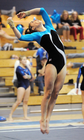 Broomfield's JoJo Hayden performs her floor routine during the state 5A gymnatics meet at Thornton High School on Friday.<br /> <br /> <br /> November 6, 2009<br /> Staff photo/David R. Jennings