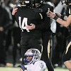Monarch's Joey Bata and Jamie Falloon celebrate after Falloon's field goal was successful against Broomfield to win the game 23 -21 during the quarterfinals 4A game at Centaurus High on Friday.<br /> November 18, 2011<br /> staff photo/ David R. Jennings