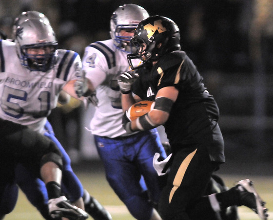 Monarch's Alex Blazon runs the ball against Broomfield during the quarterfinals 4A game at Centaurus High on Friday.<br /> November 18, 2011<br /> staff photo/ David R. Jennings
