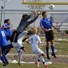 Peak to Peak's goalie Max Clark stops the ball by Holy Family during Saturday's state playoff game at Mike G. Gabriel Stadium.<br /> October 25, 2012<br /> staff photo/ David R. Jennings