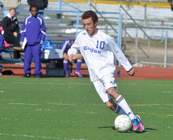 Broomfield's Noah Chapleski  takes the ball downfield against Denver North during Saturday's state playoff game at Elizabeth Kennedy Stadium.<br /> October 25, 2012<br /> staff photo/ David R. Jennings