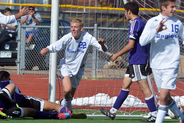 Broomfield's Thomas Adelmann (22) celebrates his goal against Denver North during Saturday's state playoff game at Elizabeth Kennedy Stadium.<br /> October 25, 2012<br /> staff photo/ David R. Jennings