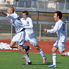 Broomfield's Thomas Adelmann, left, celebrates his goal against Denver North during Saturday's state playoff game at Elizabeth Kennedy Stadium.<br /> October 25, 2012<br /> staff photo/ David R. Jennings
