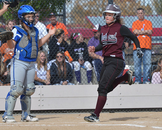Berthoud's Jessica Boruff scores a run against Broomfield during Friday's state softball championships at Aurora Sports Park.<br /> <br /> October 19, 2012<br /> staff photo/ David R. Jennings