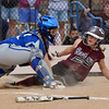 Broomfield's catcher Kenzie Brock tags out Berthoud's xxx at home plate during Friday's state softball championships at Aurora Sports Park.<br /> <br /> October 19, 2012<br /> staff photo/ David R. Jennings