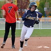 Legacy's Alyssa Geist rounds second base to score against Eaglecrest during Friday's state softball championships at Aurora Sports Park.<br /> <br /> October 19, 2012<br /> staff photo/ David R. Jennings