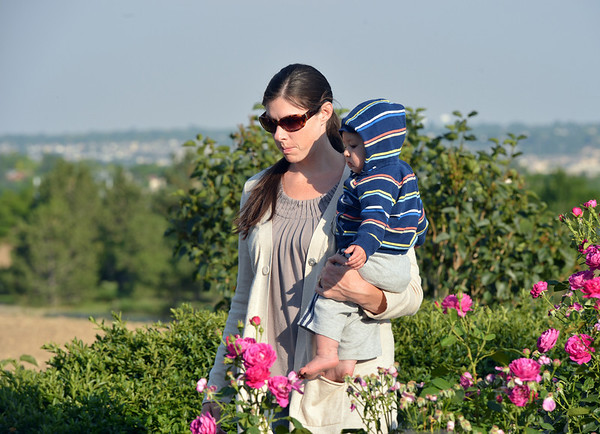Shauna Huber walks in the rose garden with her 11 month-old son Tabor during the concert by the Carbone Family Band for Summer Sundays at the Historic Brunner Farmhouse on Sunday<br /> June 9, 2012 <br /> staff photo/ David R. Jennings