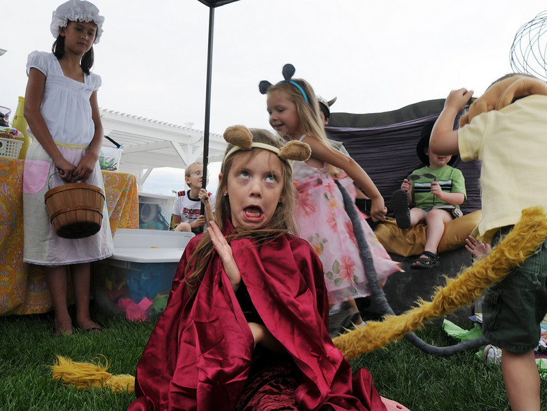 Gracie Nordgren, 8, plays the queen lion in a improvisational play with the Backstory Theather booth during the Broomfield Council on the Arts and Humanities Summer Sundays at the Brunner <br /> Farmhouse.<br /> <br /> July 11, 2010<br /> Staff photo/ David R. Jennings