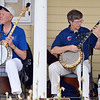 Ron (Snake) Moermond, left, and John Mumford with the Mile High Banjo Society entertain the audeince during Summer Sundays at the Brunner Farmhouse on Sunday.<br /> <br /> July 8, 2012<br /> staff photo/ David R. Jennings