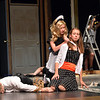 Meghan Brozovich, 12, center, playing Helsa Wenzel, threatens Alexa Brown, 17, playing Nikki Crandall after Ken De La Maize, played by Jared Wold, 16, is knocked out  during rehearsal for the Summer Youth Players production of The Musical Comedy Murders of 1940 at Legacy High School.<br /> June 14, 2012 <br /> staff photo/ David R. Jennings