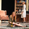 Megan Martin, 13, left, playing Bernice Roth, writes notes while sitting on the floor with Hannah Royer, 16, playing Elsa Von Grossenknueten at right, during rehearsal for the Summer Youth Players production of The Musical Comedy Murders of 1940 at Legacy High School.<br /> June 14, 2012 <br /> staff photo/ David R. Jennings