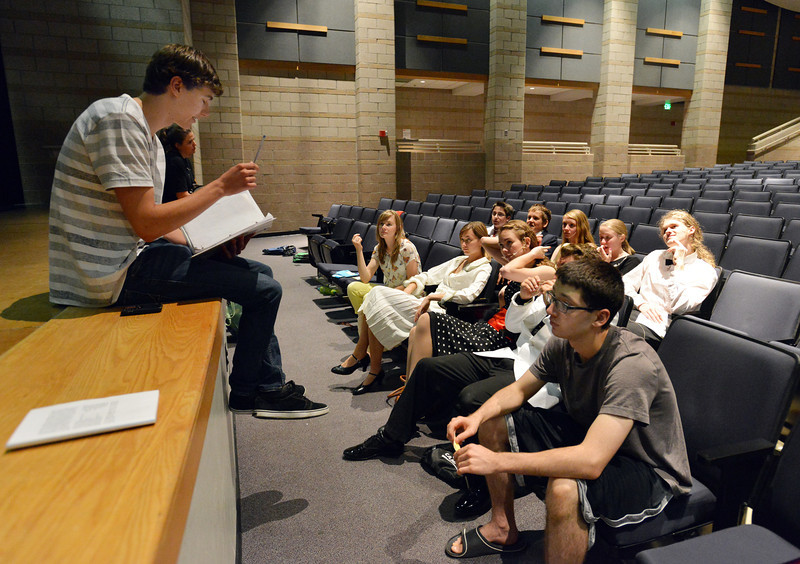 Direstor Nick Iaconeti, left, reveues notes on the performance with the cast after rehearsal for the Summer Youth Players production of The Musical Comedy Murders of 1940 at Legacy High School.<br /> June 14, 2012 <br /> staff photo/ David R. Jennings