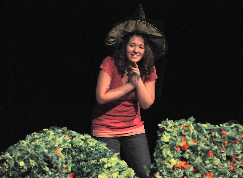 Tristine Henderson, the Wicked Witch of the West, watches Dorothy and her friends succumb to her spell during the Summer Youth Players tech rehearsal of The Wizard of Oz at Broomfield High School on Saturday.<br /> June 18, 2011<br /> staff photo/David R. Jennings