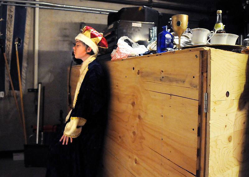 Garrett Labuda playing King Ulsted takes a moment to prepare for his performance before Saturday's Summer Youth Players production of The Princess and the Pea at the Audi.<br /> July 17, 2010<br /> Staff photo/ David R. Jennings