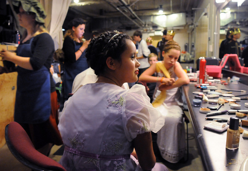 Shaylee Crumrine looks in the make-up mirror while waiting for the Saturday's Summer Youth Players performance of The Princess and the Pea at the Audi.<br /> July 17, 2010<br /> Staff photo/ David R. Jennings