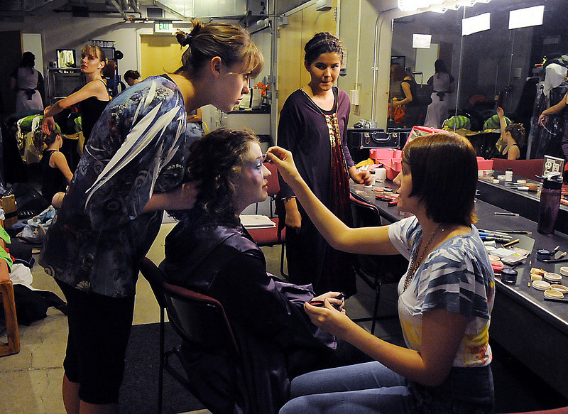 Tristine Henderson, center, has her make-up put on by Shelby Hermann, right, with the help of director Hailey Barr before Saturday's Summer Youth Players performance of The Princess and the Pea at the Audi.<br /> July 17, 2010<br /> Staff photo/ David R. Jennings