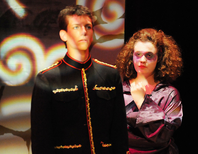 Tristine Henderson portraying Isadora, right, tries to get prince Harcourt, Hayden Schappel, to see the correct choice during Saturday's Summer Youth Players performance of The Princess and the Pea at the Audi.<br /> July 17, 2010<br /> Staff photo/ David R. Jennings