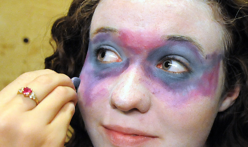 Tristine Henderson playing Isadora has her make-up worked on before Saturday's Summer Youth Players performance of The Princess and the Pea at the Audi.<br /> July 17, 2010<br /> Staff photo/ David R. Jennings