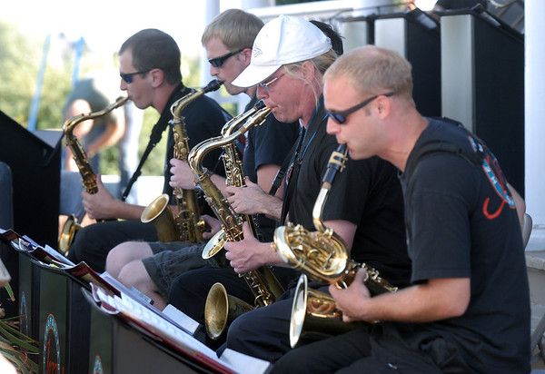 The saxophone section of the Metropolitan Jazz Orchestra play during Summer Sundays at the Brunner Farmhouse sponsored by the Broomfield Council on the Arts and Humanities on Sunday.<br /> <br /> August 7, 2011<br /> staff photo/ David R. Jennings