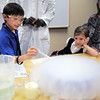 Eric Osicka, 9, pops a bubble made with dry ice at the Mad Scientist station during take our Daughters and Sons to Work Day at White Wave Foods on Thursday.<br /> April 28, 2011<br /> staff photo/David R. Jennings