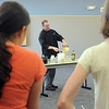 Knife and Cork chef Luke Zautke demonstrates how to make hummus to the class during the teen cooking session of making Mediterranean dishes with at the Mamie Doud Eisenhower Public Library on Tuesday.<br /> <br /> July 5 2011<br /> staff photo/ David R. Jennings