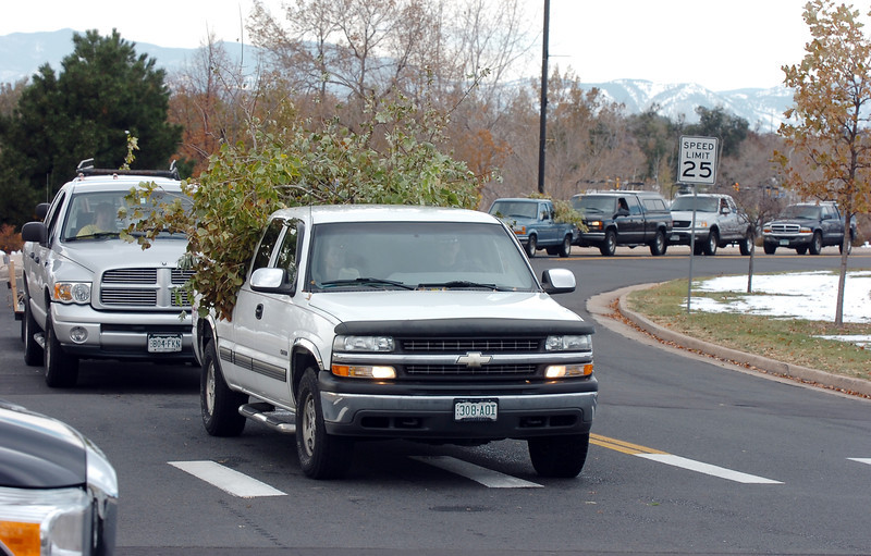 Broomfield residents line up along DesCombes Drive to unload their broken branches at the temporary tree branch drop off in the parking lot of the Bay Aquatic Center on Saturday.<br /> October 29, 2011<br /> staff photo/ David R. Jennings