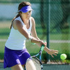 Boulder's Azalee Rafii returns the ball to Broomfield's Madi Subry during the 4th Annual Broomfield Invitaional at the Broomfield Swim and Tennis club on Friday.<br /> <br /> <br /> April 20, 2012 <br /> staff photo/ David R. Jennings