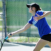 Broomfield's Madi Subry returns the ball to Boulder's Azalee Rafii during the 4th Annual Broomfield Invitaional at the Broomfield Swim and Tennis club on Friday.<br /> <br /> <br /> April 20, 2012 <br /> staff photo/ David R. Jennings