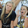 "Legacy's seniors Hannah Carpenter, left, and Jessie Arellano cheer for the Lightning during Friday's ""Backyard Brawl"" Legacy vs. Broomfield at North Stadium.<br /> <br /> September 9, 2011<br /> staff photo/ David R. Jennings"
