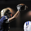 "Legacy's Cameron McWee raises the ball after catching a pass during Friday's ""Backyard Brawl"" Legacy vs. Broomfield at North Stadium.<br /> <br /> September 9, 2011<br /> staff photo/ David R. Jennings"