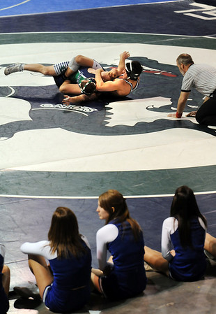 Broomfield's Jordan Gutierrez, right, moves to pin Standley Lake's Jay Sawicki during the 152 lb. bout at Saturday's The Beast Wrestling Tournament at the Odeum Colorado.<br /> January 30, 2010<br /> Staff photo/David R. Jennings