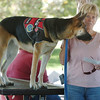 Freeda and owner Karen Brasselero attend the service for the blessing of the animals at Community Park on Saturday.<br /> October 1, 2011<br /> staff photo/ David R. Jennings