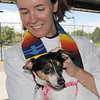 Vicar Kim Seidman of Holy Comforter Episcopal Church blesses Dottie Mae a rat terrier owned by Michelle Villarreal during the blessing of the animals at Community Park on Saturday.<br /> October 1, 2011<br /> staff photo/ David R. Jennings