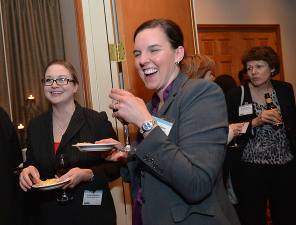 Vicki Haberkorn, left, and Allison Oehler with Omni Interlocken Resort chat and have appetizers during the Broomfield Chamber of Commerce's annual dinner at the Renaissance Hotel on Thursday.<br /> <br /> January 31, 2013<br /> staff photo/ David R. Jennings