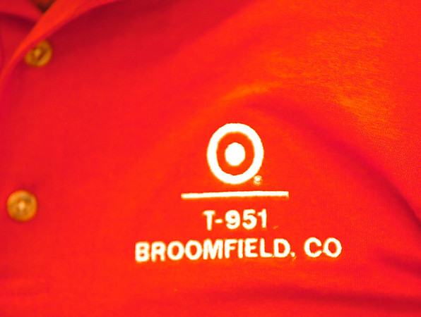Broomfield Target employees wear shirts with the store number for the store's last day on Saturday.<br /> January 26, 2012<br /> staff photo/ David R. Jennings