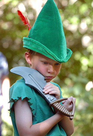 James Knudtsen, 8, playing Peter Pan waits before Sunday's performance of the Lemonade Players neighborhood production of Peter Pan.<br /> <br /> <br /> June 26, 2011<br /> staff photo/ David R. Jennings