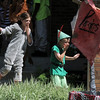 Peter Pan played by James Knudtsen, 8, right, and one of the Lost Boys, Lauren Burns, 9, enter stage left, during dress rehearsal of the Lemonade Players production of Peter Pan on Saturday.<br /> <br /> <br /> June 25, 2011<br /> staff photo/ David R. Jennings