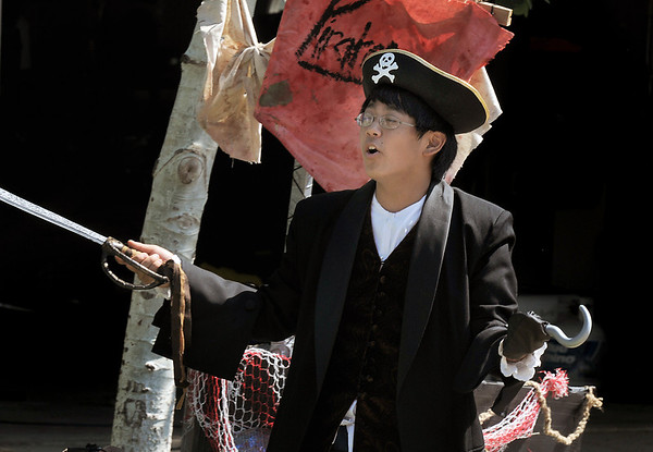 Peter Buchholtz, 13, delivers his monolog as Captain Hook for the Lemonade Players production of Peter Pan during dress rehearsal on Saturday.<br /> <br /> June 25, 2011<br /> staff photo/ David R. Jennings