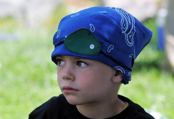 Josiah Horning, 5, is dressed as a pirate during Saturday's dress rehearsal of the Lemonade Players neighborhood production of Peter Pan .<br /> <br /> <br /> June 25, 2011<br /> staff photo/ David R. Jennings
