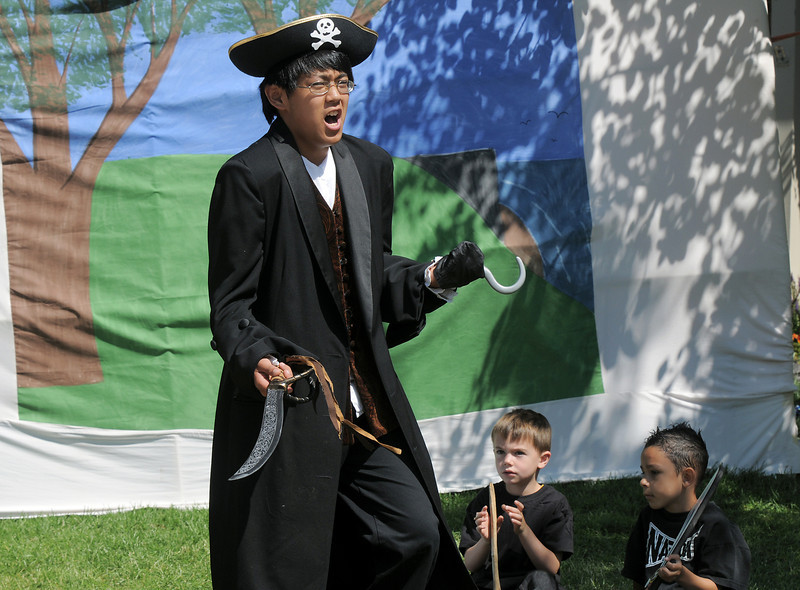 Peter Buchholtz, 13, gives his performance of Captain Hook for the Lemonade Players production of Peter Pan during dress rehearsal on Saturday.<br /> <br /> <br /> June 25, 2011<br /> staff photo/ David R. Jennings