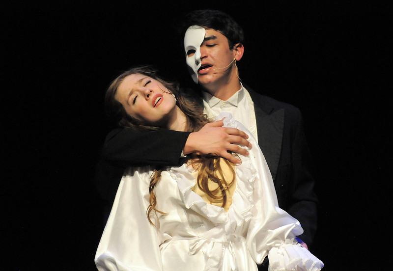 Audrey Felderman as Christine and Schyler Vargus as the Phantom perform during dress rehearsal of Legacy High School's presentation of The Phantom of the Opera  on Thursday.<br /> February 9, 2012<br /> staff photo/ David R. Jennings