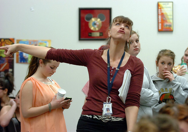 Director Karen Stacks talks to the cast before dress rehearsal of Legacy High School's presentation of The Phantom of the Opera  on Thursday.<br /> February 9, 2012<br /> staff photo/ David R. Jennings