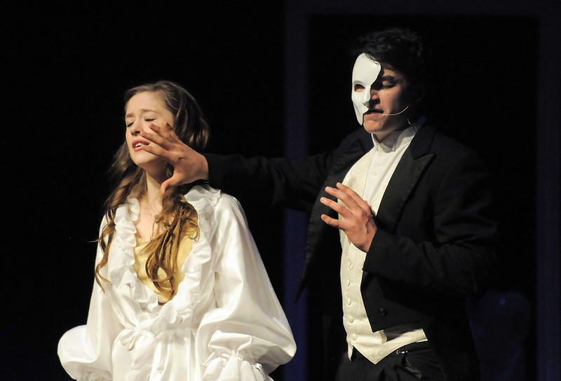 Audrey Felderman as Christine and Schyler Vargus as the Phantom sing together during dress rehearsal of Legacy High School's presentation of The Phantom of the Opera  on Thursday.<br /> February 9, 2012<br /> staff photo/ David R. Jennings