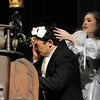 Audrey Felderman, Christine, takes the mask off of Schyler Vargus, the Phantom, during dress rehearsal of Legacy High School's presentation of The Phantom of the Opera  on Thursday.<br /> February 9, 2012<br /> staff photo/ David R. Jennings