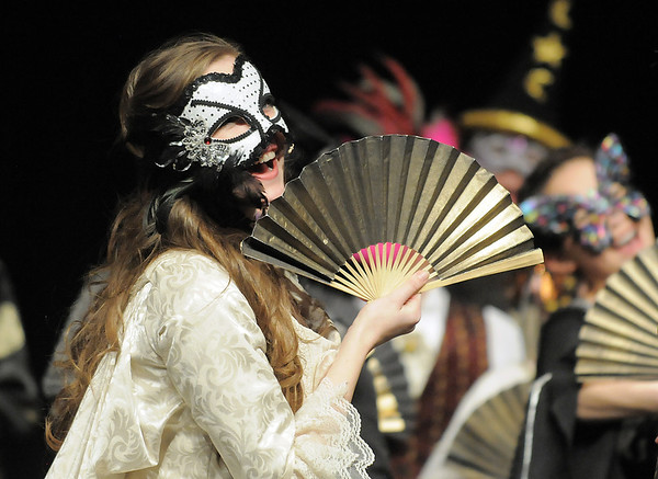 "Audrey Felderman, as Christine, sings ""Masquerade"" with the cast at the ball during dress rehearsal of Legacy High School's presentation of The Phantom of the Opera  on Thursday.<br /> February 9, 2012<br /> staff photo/ David R. Jennings"