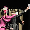 Moorea Corrigan, left, playing Carlotta the opera's prima donna, reaches for a letter from the Phantom held by Dasha Bobyleva playing Madame Giry,  during dress rehearsal of Legacy High School's presentation of The Phantom of the Opera  on Thursday. <br /> February 9, 2012<br /> staff photo/ David R. Jennings