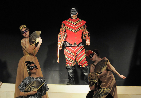 The Phantom, Schyler Vargus, makes his entrance to the masquerade ball during dress  rehearsal of Legacy High School's presentation of The Phantom of the Opera  on Thursday.<br /> February 9, 2012<br /> staff photo/ David R. Jennings