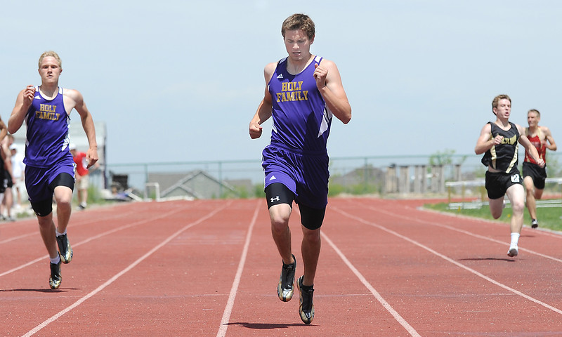Holy Family's Scout Cox running in the 400 meter dash during Saturday's Tiger Tornado Invitational trackmeet at Mike G. Gabriel Stadium.<br /> May 05, 2012 <br /> staff photo/ David R. Jennings