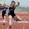 Peak to Peak's Morgan Hazzard running in the 300 meter hurdles during Saturday's Tiger Tornado Invitational trackmeet at Mike G. Gabriel Stadium.<br /> May 05, 2012 <br /> staff photo/ David R. Jennings